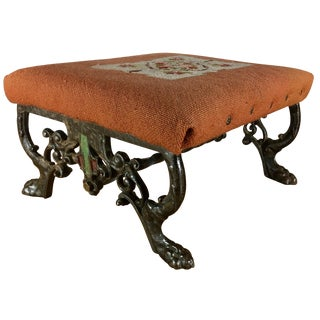Kingman Needlepoint & Cast Iron Claw Foot Stool