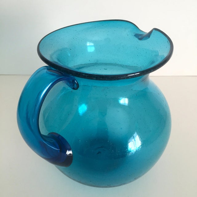 Mid-Century Blue Blenko Glass Pitcher - Image 5 of 11