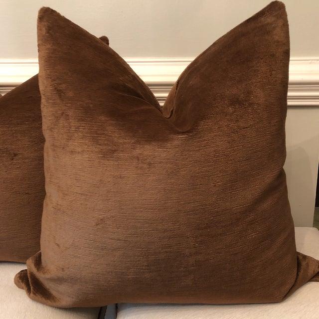 "22"" Chocolate Linen Velvet Pillows - A Pair - Image 3 of 5"