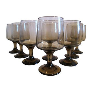 Retro Tawny-Smoke Wineglasses - S/8