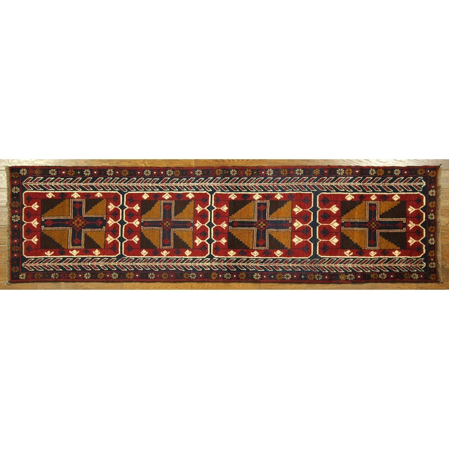 """Persian Baluch Red & Blue Rug - 2'7"""" x 9'10"""" - Image 2 of 7"""