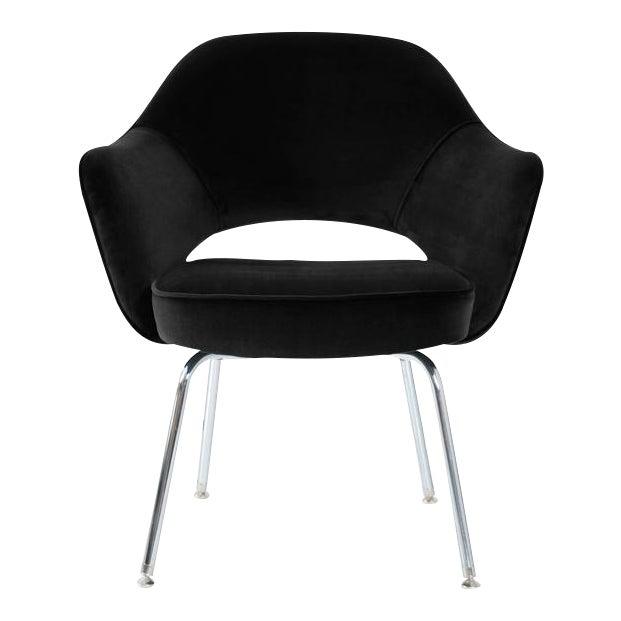 Saarinen Executive Armchairs in Black Velvet, Set of Six - Image 1 of 4