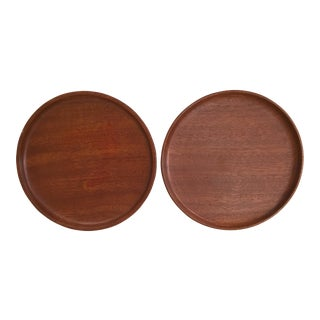 Mid-Century Wooden Plates - A Pair