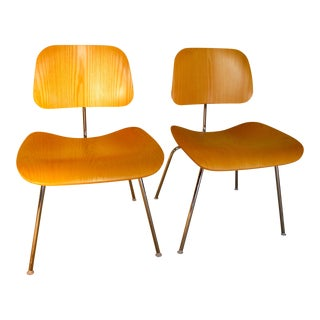 Eames Molded Plywood Metal Base Dining Chairs - a Pair