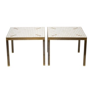 Ceramic Tiled Brass Side Tables - A Pair