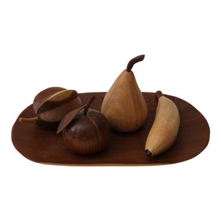 Five-Piece Artisan Plate With Mahogany Fruit