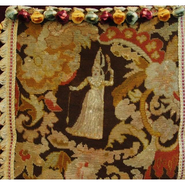 Custom Antique French Needlepoint & Velvet Pillow - Image 10 of 11
