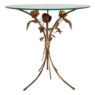 Mid-Century Italian Tole Rose Side Table