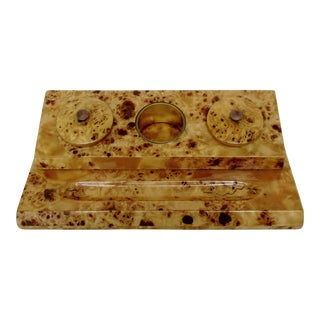 Lacquered Burl Wood Desk Set