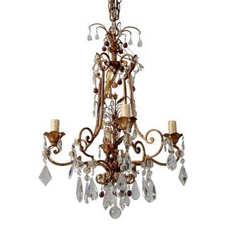 Italian Four Light Crystal Chandelier With Colored Drops