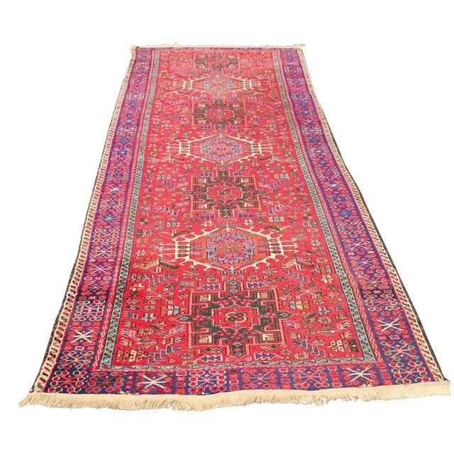 "Vintage Heriz Persian Red Runner - 4'6"" x 12'3"" - Image 1 of 11"