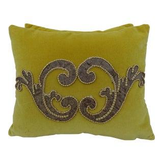 Custom Appliqued Yellow Pillows - A Pair