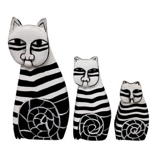 1970's Black & White Folk Art Cats - Set of 3