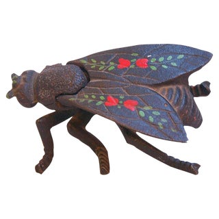 1950s Vintage Hand-Painted Insect Fly Trinket Box