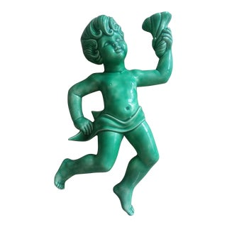 Mid-Century Modern Green Porcelain Large Cherub Wall Decor