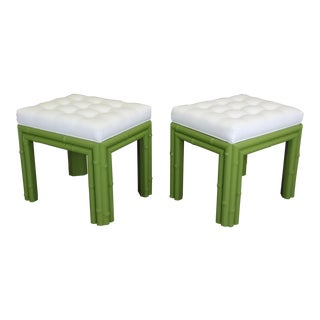 Pair of Faux Bamboo Green Benchches
