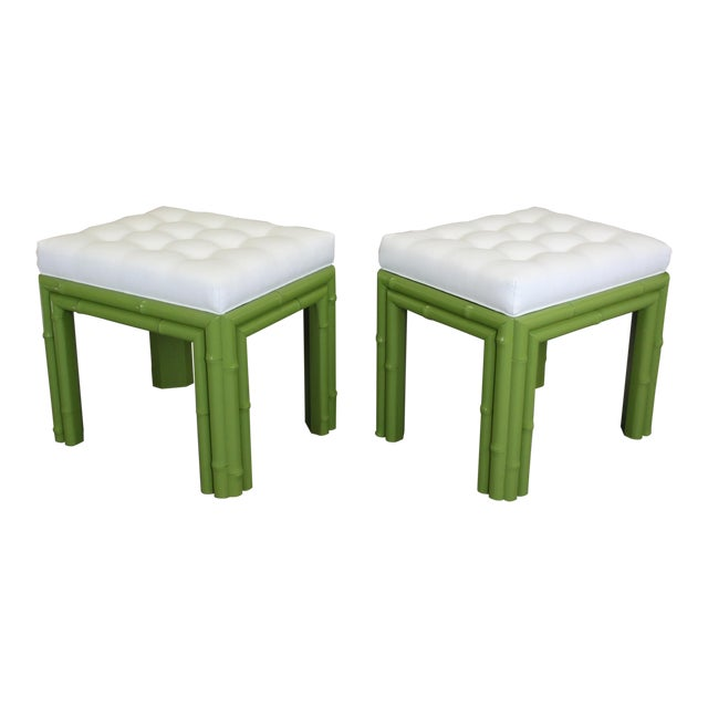 Pair of Faux Bamboo Green Benchches - Image 1 of 11