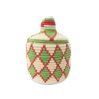 White, Green & Red Moroccan Bread Basket