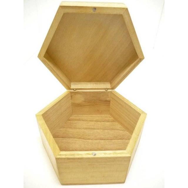 Vintage Hexagon Sea Shell Marquetry Inlay Wood Keepsake Box - Italy - Image 5 of 7