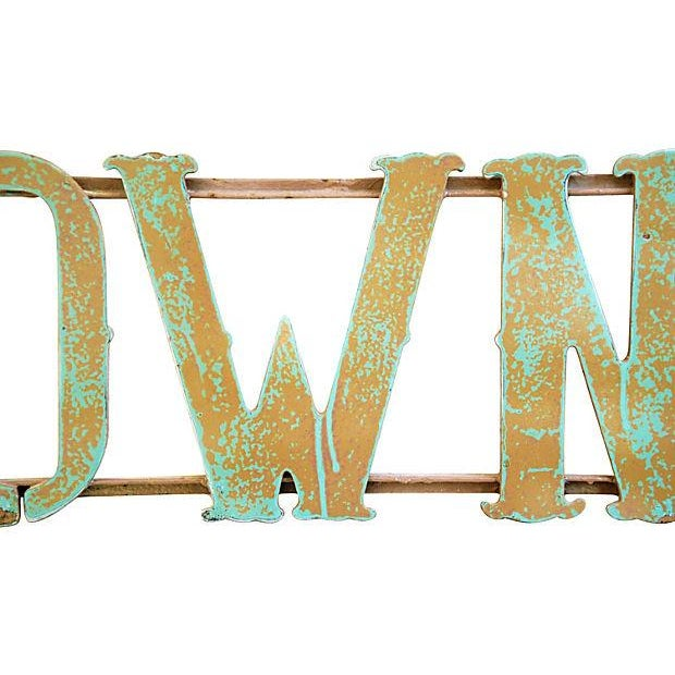 1930s Hand-Forged Metal Towne Sign - Image 3 of 4