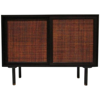 Mid Century Rattan and Walnut Credenza