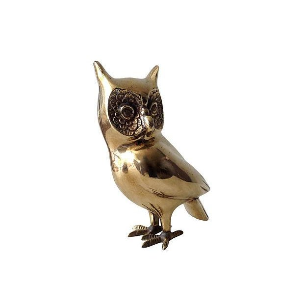 Image of Brass Standing Owl with Crow Feet