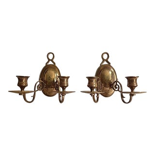 Vintage Brass Two-Arm Candle Sconces - A Pair