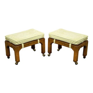 Vintage Hollywood Regency Campaign Stools - A Pair
