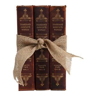 1930's Vintage Book Gift Set: Leather Novels - Set of 3