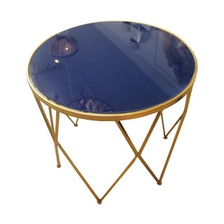 Gold Metal Round Table With Blue Glass