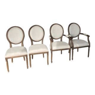 Restoration Hardware Vintage French Style Linen Dining Chairs - Set of 4