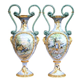 19th Century Italian Hand Painted Vases - A Pair