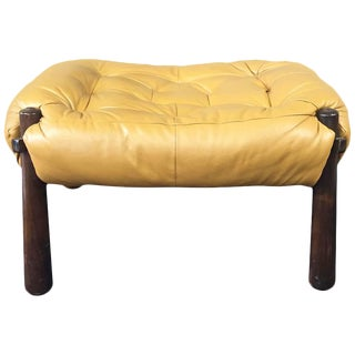 Percival Lafer Leather & Jacaranda Ottoman