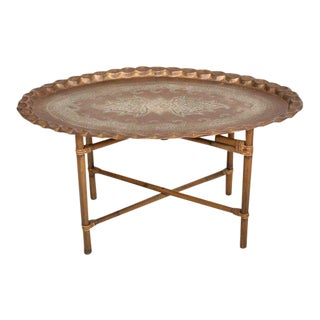 Anglo Indian Coffee Table Brass & Bamboo