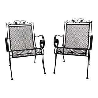 Vintage Black Iron Outdoor Floral Pattern Patio Lounge Chairs - Pair