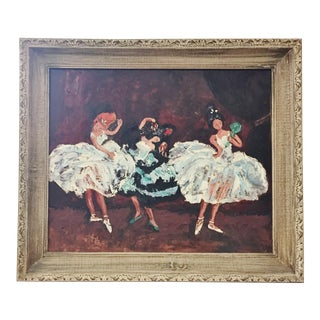Original Oil Painting Ballet Flamenco Dancers, 1970s