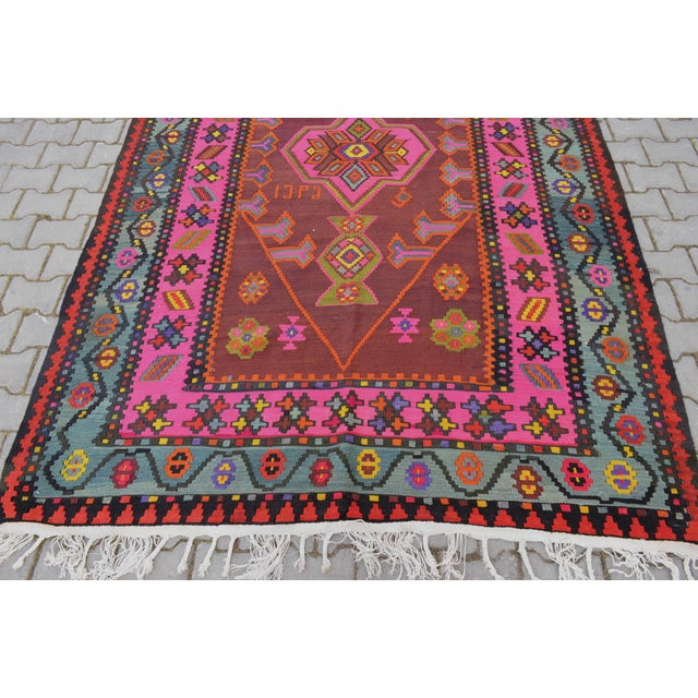 Anatolia Turkish Kilim Rug - 6′6″ × 14′2″ - Image 9 of 10