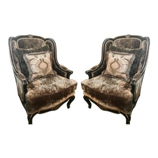 Marge Carson Brown Velvet Marguerite Chairs - a Pair