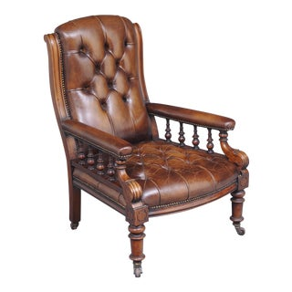 English Antique Victorian Mahogany and Leather Library Armchair, Circa 1860