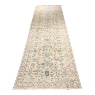 Blue & Gray Royal Khotan Runner - 3' X 10'