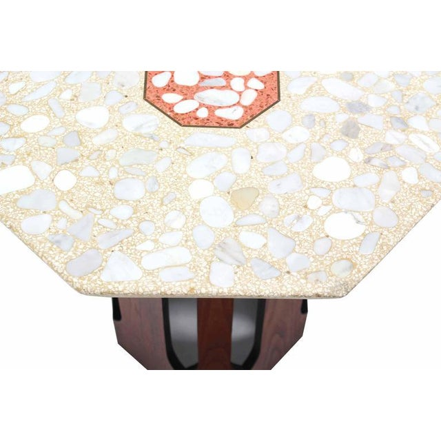Pair of Octagon Shape Travertine Top End or Side Table on Walnut Bases - Image 5 of 7