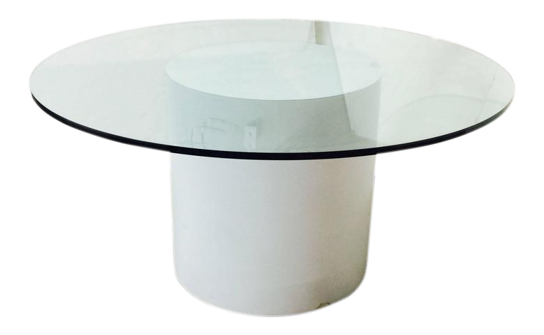 Modern White Laminated Dining Table With Round Glass Top