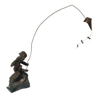 Bronze Brutalist Sculpture of Boy with Kite