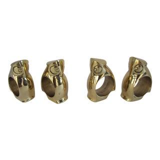 Brass Owl Napkin Rings - Set of 4