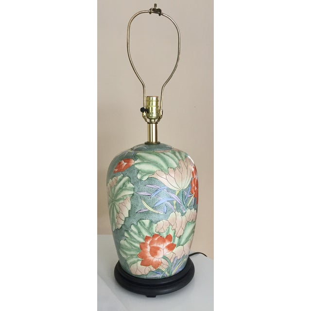 Image of Floral Ginger Jar Lamp With Dark Wood Base