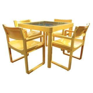 Yellow Resin Mid-Century Patio Set