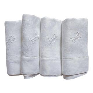 Monogramed Damask White Linen Napkins - Set of 4