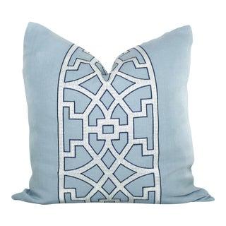 "20"" x 20"" Mary McDonald Light Blue Trellis Decorative Pillow Cover"