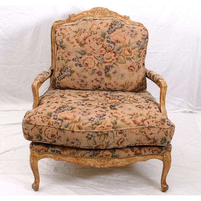 Large Floral Fauteuil Chair - Image 3 of 4