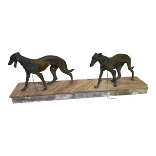 Art Deco Metalware Walking Hounds on Marble Base
